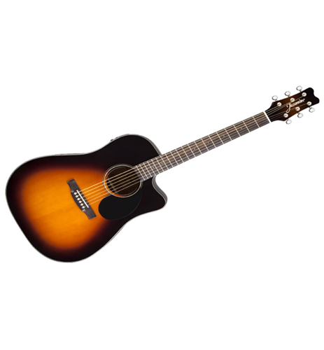 Jasmine JD39CE Black Dreadnought Acoustic Electric Cutaway Guitar With case also available in Natural and Black